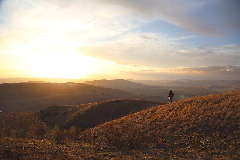 Горы, Закат, Закатюжный урал, Солнце За солнцемphoto preview