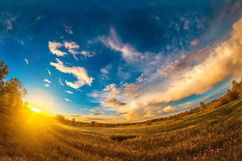 Decline, Fisheye, Gold, Landscape, Nature, Summer, Sun, Закат, Прокопьевск Золотой закат.photo preview