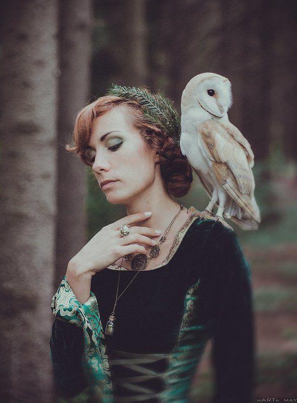 Bird, Forest, Girl, Nature, Nikon, Nikon d 800, Owl, Девушка, Лес, Портрет, Птица, Сова Owlphoto preview