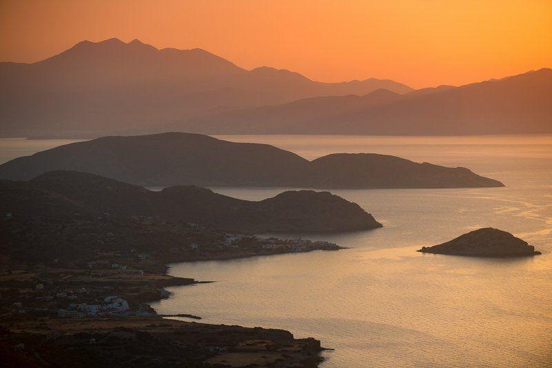 Горы, Греция, Закат, Залив, Крит, Мирабелло, Море, Острова, Природа, Путешествие, Путешествия Мирабеллоphoto preview
