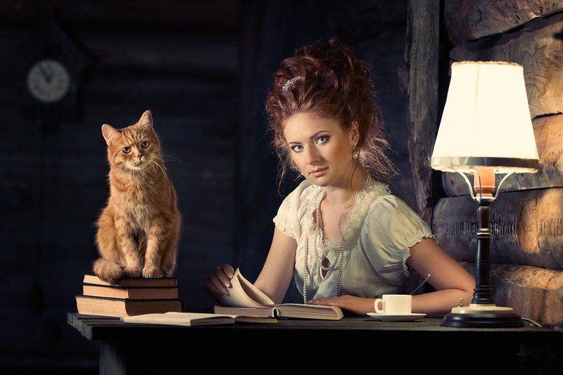 Девушка, Книги, Кот, Лампа, Рыжая, Рыжий, Стол, Часы ***photo preview