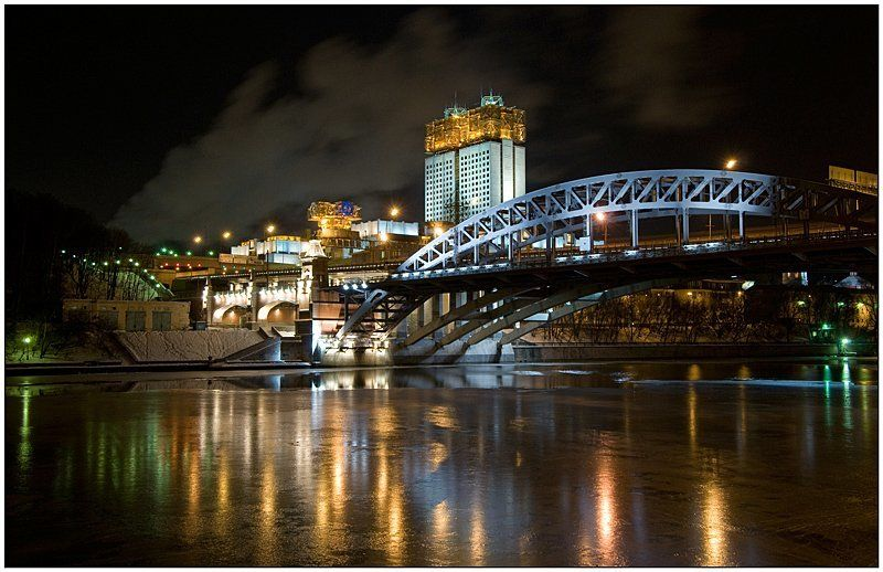 москва, река, зима, ночь, набережная, лед Прогулки по Москвеphoto preview