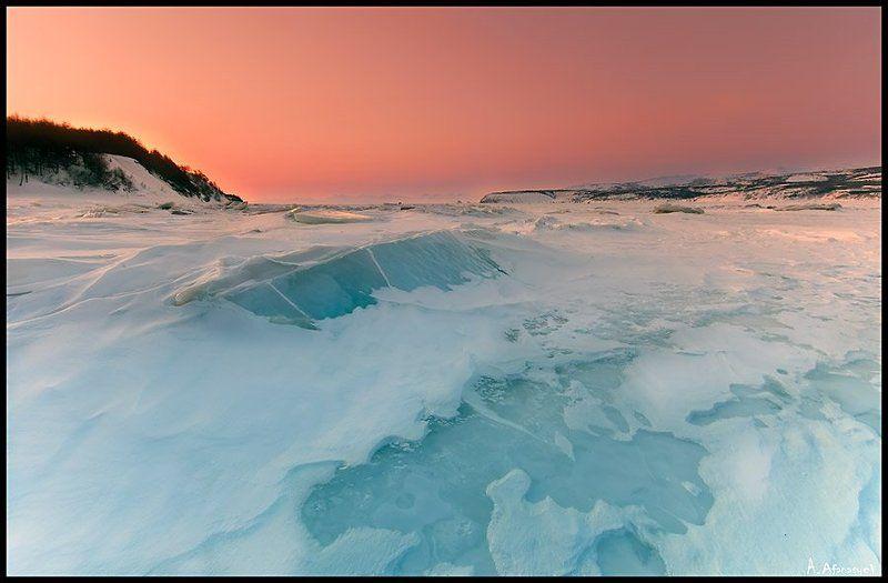 магадан, море, бухта, гертнера, охотское, мороз, холод а где-то весна (розовый рассвет)photo preview