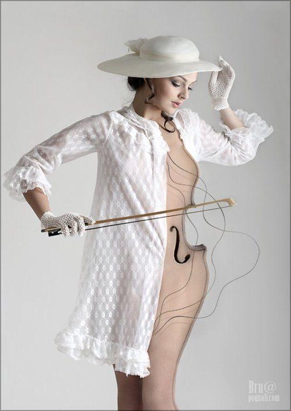 девушка, скрипка, тело, струны Мелодия тела...photo preview