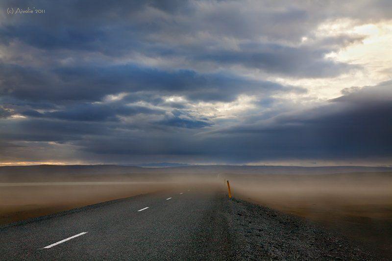 Буря, Вечер, Дорога, Закат, Исландия, Песок, Тучи Исландия. Песчаная буряphoto preview