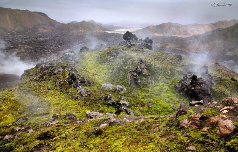 Горы, Дым, Исландия, Лава, Мох Исландия. Живая земляphoto preview