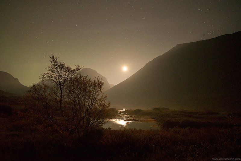 Khibiny, Moon, Moonlight, Mountains, Night, Горы, Хибины Однажды лунной ночьюphoto preview