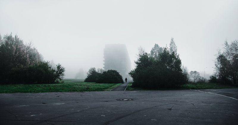 Деревья, Дом, Дорога, Небо, Трава, Туман, Улица, Человек ***photo preview