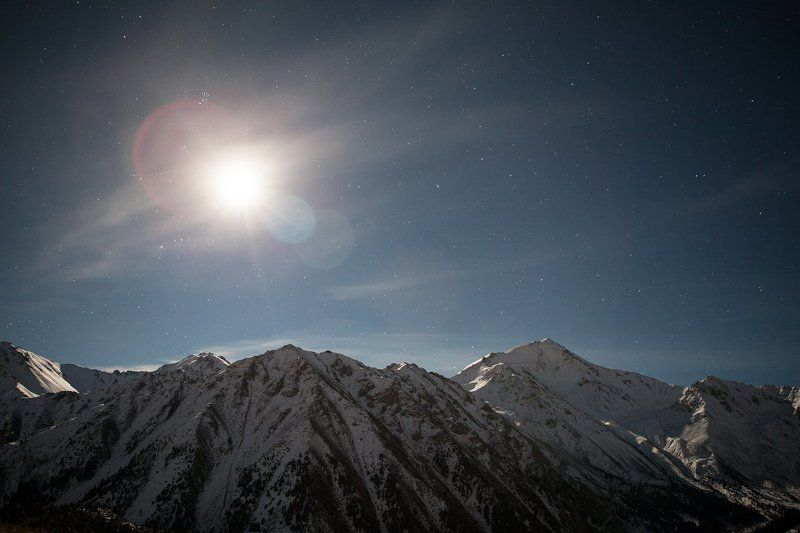 Autumn, Fall, Glacier, Lake, Moon, Mountain, Night, Sky, Snow, Stars, Water Night big Almaty lake.photo preview