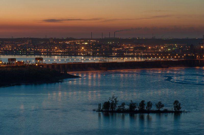 , весна, вечер, волга, Гэс, жигулевск, Мост, огни, остров, Плотина, река, россия, тольятти ***photo preview