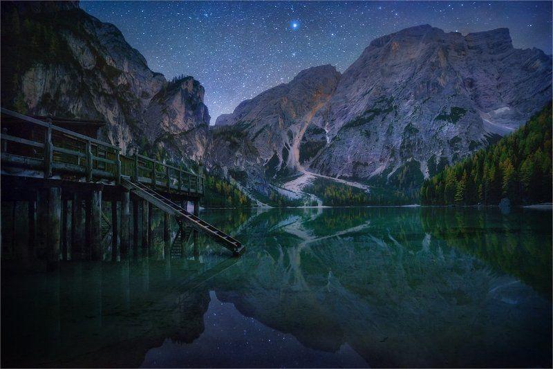 Dolomites, Lago di Braies, Вода, Горы, Доломитовые альпы, Звезды, Ночь, Озеро, Причал «Tales of Dolomites - Lago di Braies»photo preview