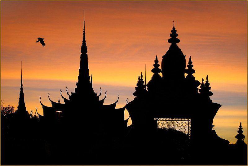 камбоджия, пном, пень, силуэт, королевский, дворец Ночной силуэтphoto preview
