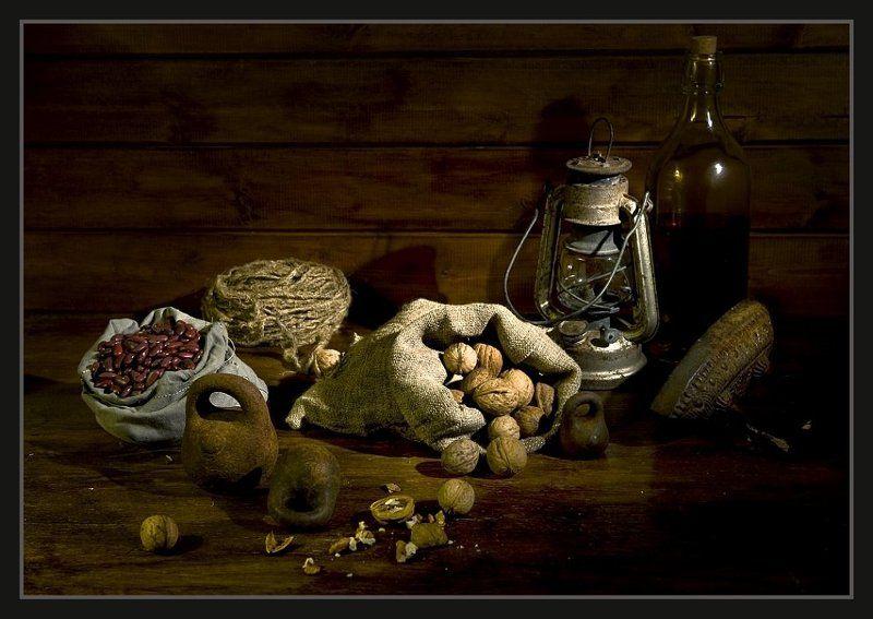 натюрморт, абаджян,  старые предметы, орехи, фасоль Фасоль и орехи.photo preview