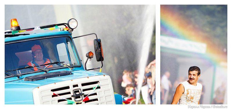 водовоз, радуга, день города, день москвы, зеленоград, вода, поливалка, фонтан, брызги Водовоз и радугаphoto preview