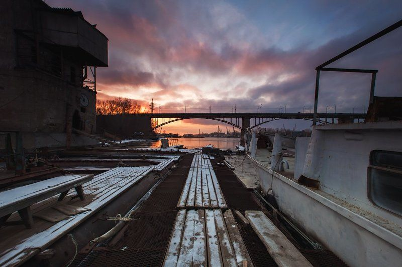 Закат, Мост, Река, Самара закат над Самаркойphoto preview