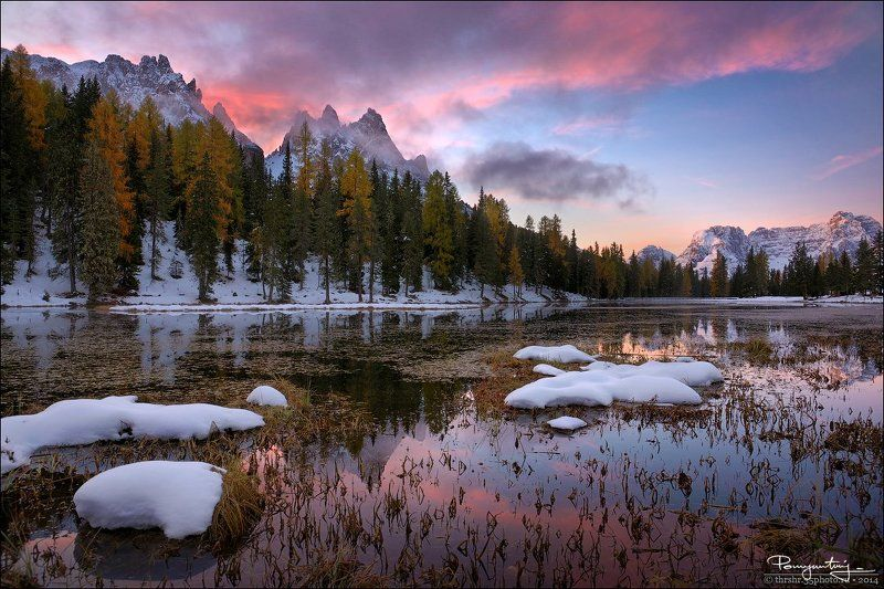 Alps, Antorno, Dolomites, First snow, Italy, Lago, Lake, Sunrise Lake Antornophoto preview