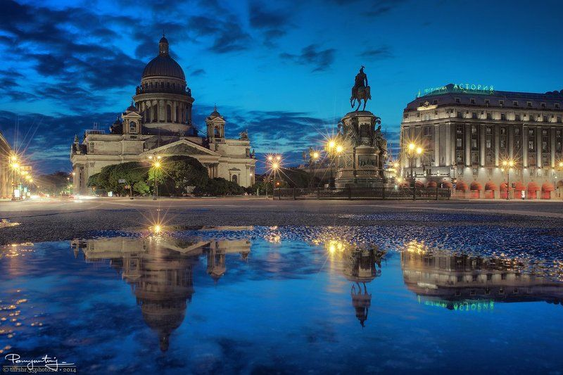 Cathedral, Reflection, Saint-petersburg, Square, St. isaac\'s, White nights, Белые ночи, Исаакиевский, Отражение, Санкт-петербург, Собор Sky Reflectionphoto preview
