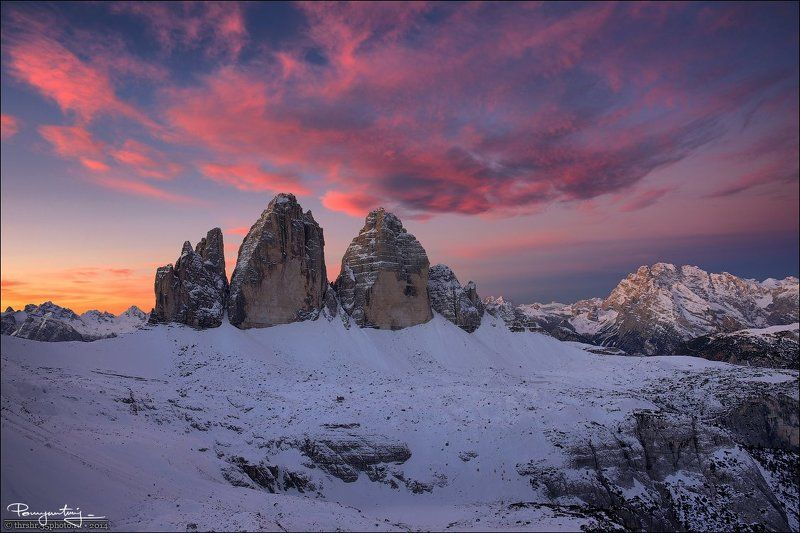Alps, Dawn, Di lavaredo, Dolomites, Drei zinnen, Italy, Mountains, Snow, South tyrol, Sunrise, Three peaks, Tre cime Color Show At Dawnphoto preview