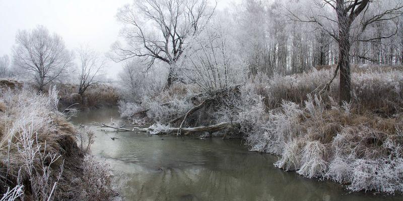 Деготня, Иней, Ноябрь, Осень, Река Белый ноябрьphoto preview