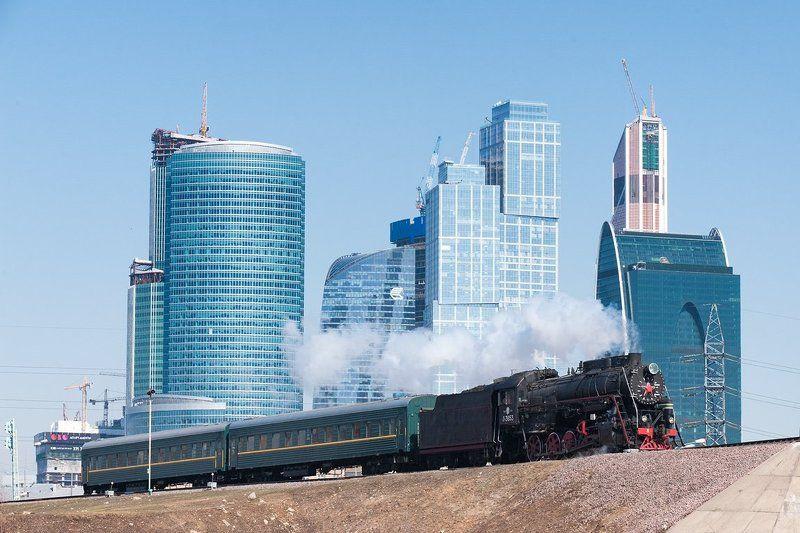 Л-3653, Лебедянка, МКЖД, Москва, Москва-сити, Паровоз, Поезд, Рельсы, Ретропоезд, Ржд Москва-город контрастовphoto preview