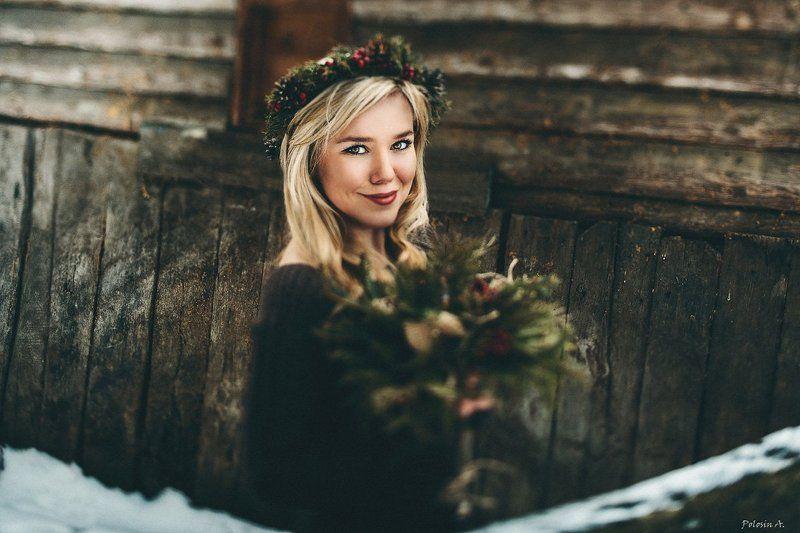 Букет, Венок, Девушка, Зима Зимняя красотаphoto preview