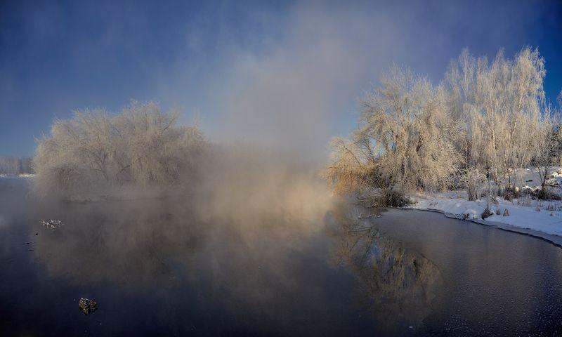 река иней туман вода небо деревья кусты берёзы лёд Морозные призраки тихой рекиphoto preview