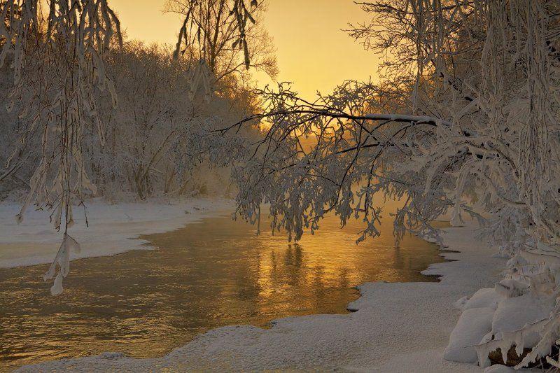 Зима, Золото, Иней, Река Золото Большой Саткиphoto preview