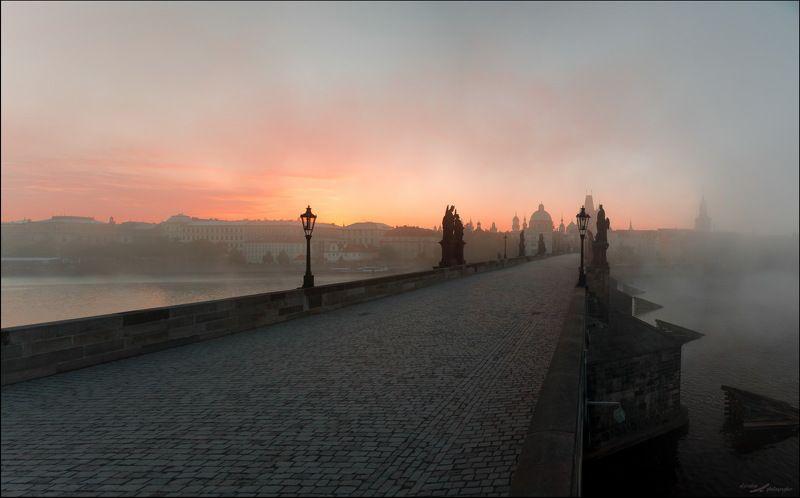 Прага, Рассвет, Туман, Чехия Пражский рассветphoto preview