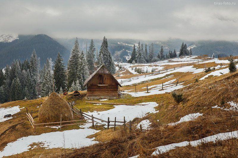 Горы, Зима, Карпаты, Сено, Стог, Туман, Холмы вечер в Карпатахphoto preview