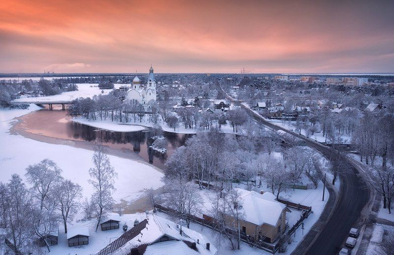 Church, City, Landscape, Reflection, Sestroretsk, Snow, Winter, Сестрорецк, Церковь ***photo preview