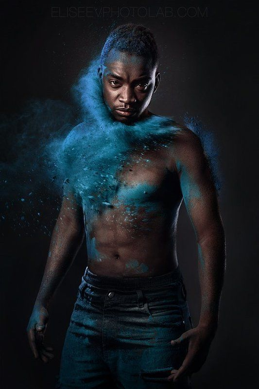 afro black skin color dust powder colorful colors emotion gulal holi holy man portrait scream studio lightning cloud Powder Hitphoto preview