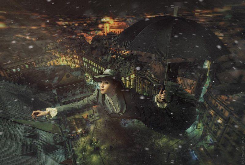 Вьюга, Зима, Коллаж, Мэри поппинс, Полет, Ретушь, Сказка, Сказки, Фантазия Мэри Поппинс, до свидания!photo preview
