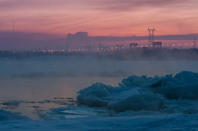 Вечер, Волга, Гэс, Жигулевск, Закат, Лед, Мороз, Мост, Пар, Плотина, Тольятти, Фонари, Январь ***photo preview