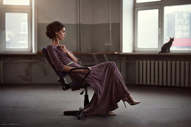 Cat, Chair, Dress, Girl, Window Girl & Catphoto preview