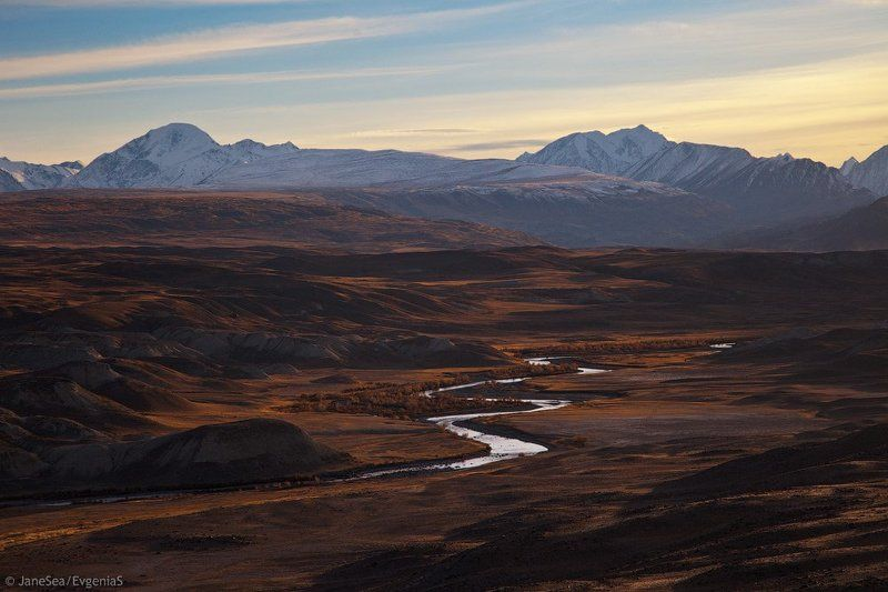 Алтай, Горный алтай, Горы, Закат, Осень, Чаган-Узун, Южно-чуйский хребет Змейка Чаган-Узунаphoto preview