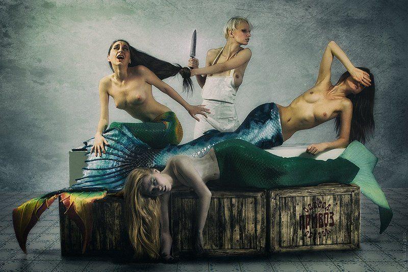 русалки, топлес, коллаж, рынок, рыба, юмор Свежая рыбаphoto preview