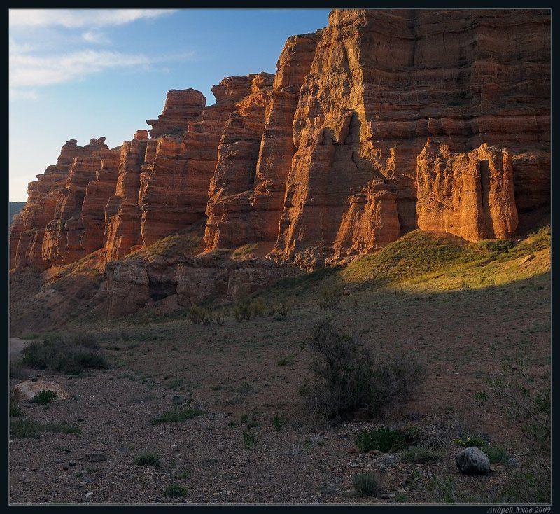 природа,весна,каньон,скалы,утро,свет,пустыня,саксаул Первые лучиphoto preview