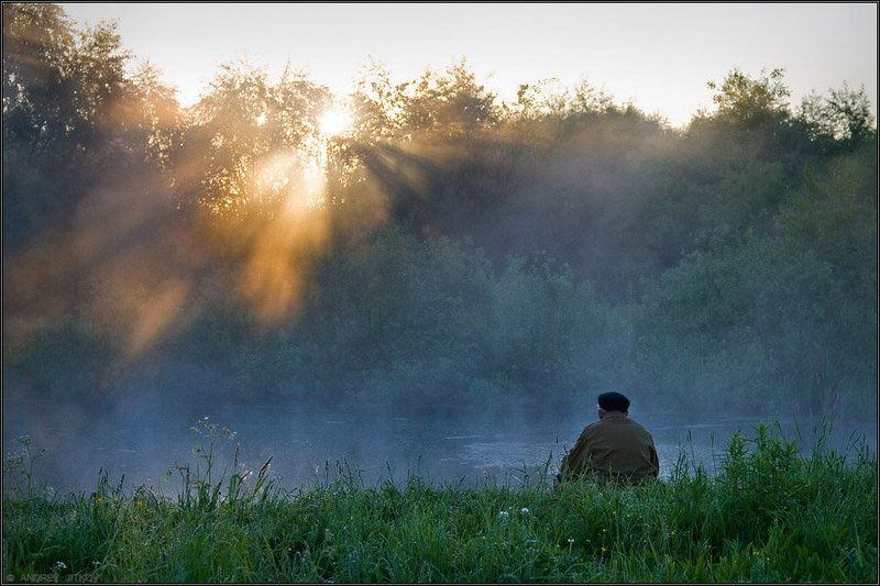 утро, пейзаж, рыбак Утренняя рыбалкаphoto preview