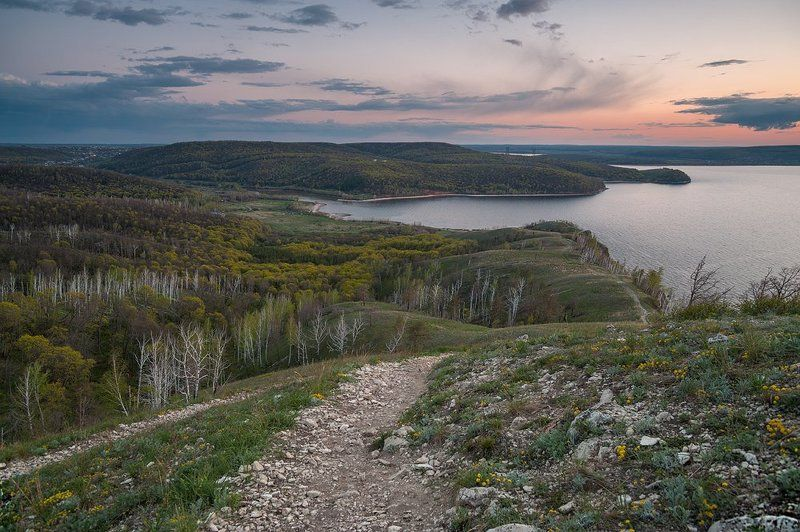 Весна, Вечер, Жигулевские горы, Жигули, Закат, Каменная степь, Национальный парк, Облака, Самарская лука, Самарская область ***photo preview