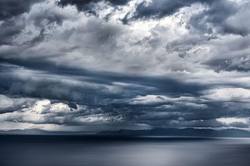 Горизонт, Горы, Греция, Море, Непогода, Облака, Пейзаж, Синий, Эгейское море Морское, слегка штормящееphoto preview