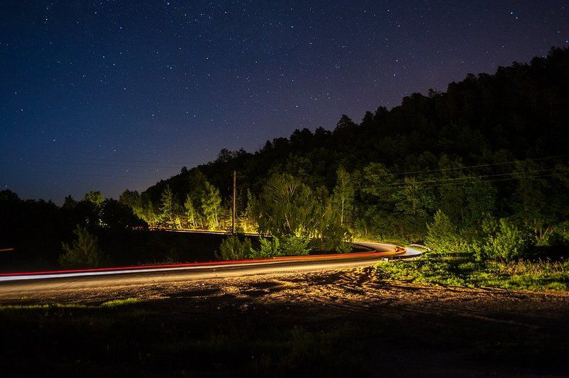ночь, звезды, небо, лето, дорога, серпантин, свет фар, лес, деревья, жигули, самарская область, заповедник ***photo preview