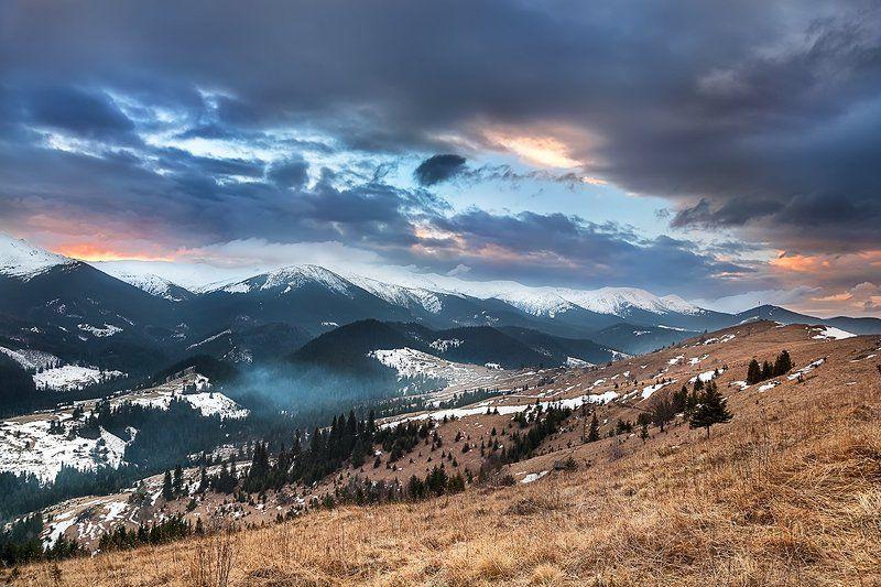 Горы, Дземброня, Закат, Зима, Карпаты, Пейзаж, Поход, Украина Закатноеphoto preview