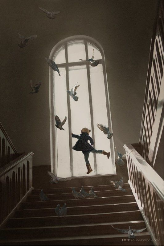 Дети и голуби, Детская фотография, Детский портрет Мелодия полетаphoto preview