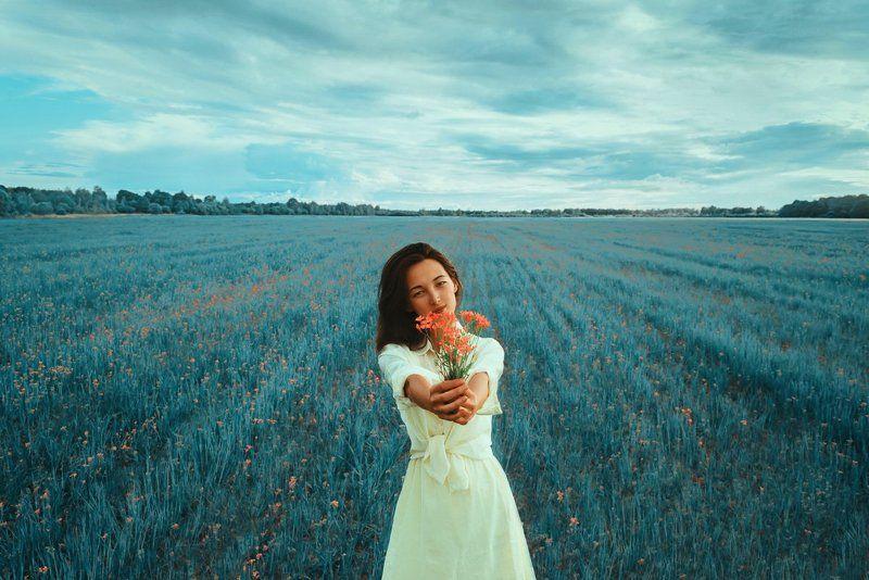 портрет, цветы, природа, девушка, поле *photo preview