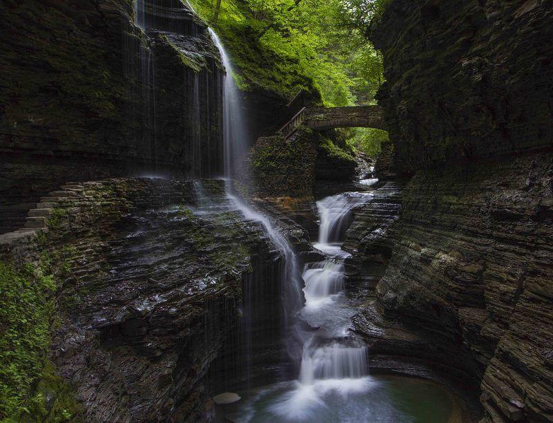 Cascade, Glen creek, Glen watkins, Waterfall, Водопад, Каскад \