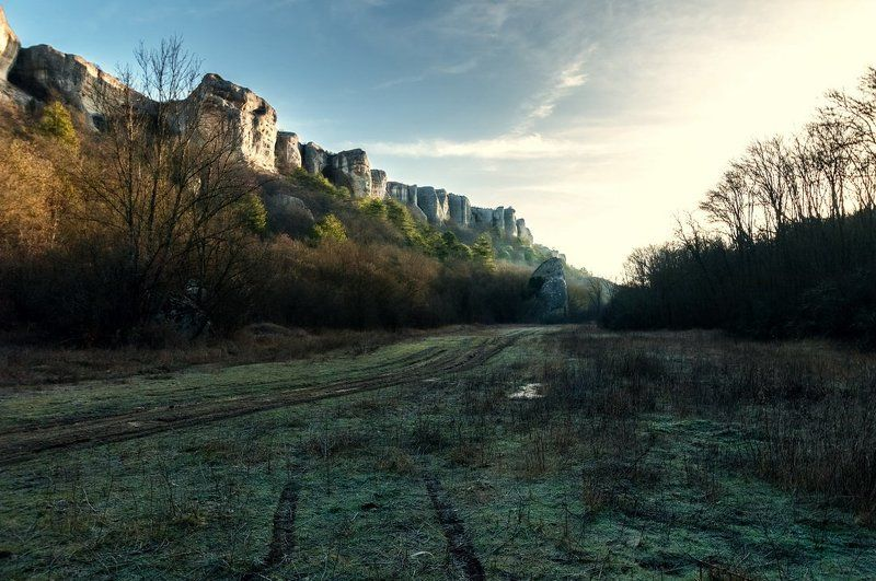 frost, frost, morning, sunrise, forest, mountain, Crimea morning hoarfrostphoto preview