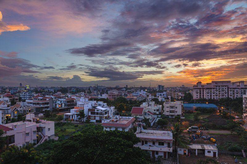 город, закат, Индия, Бангалор Из серии \
