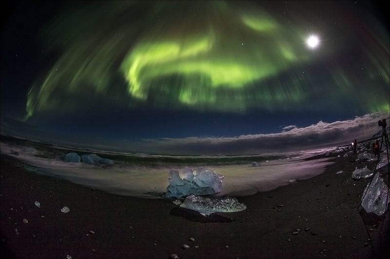 aurora, iceberg beach, iceland, jokullsarlon, umbrella northern light AURORA UMBRELLAphoto preview