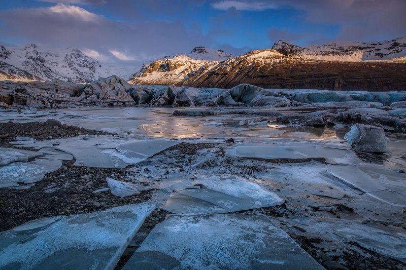 путешествия, Исландия, ледник, лед, снег, закат осколки вечностиphoto preview