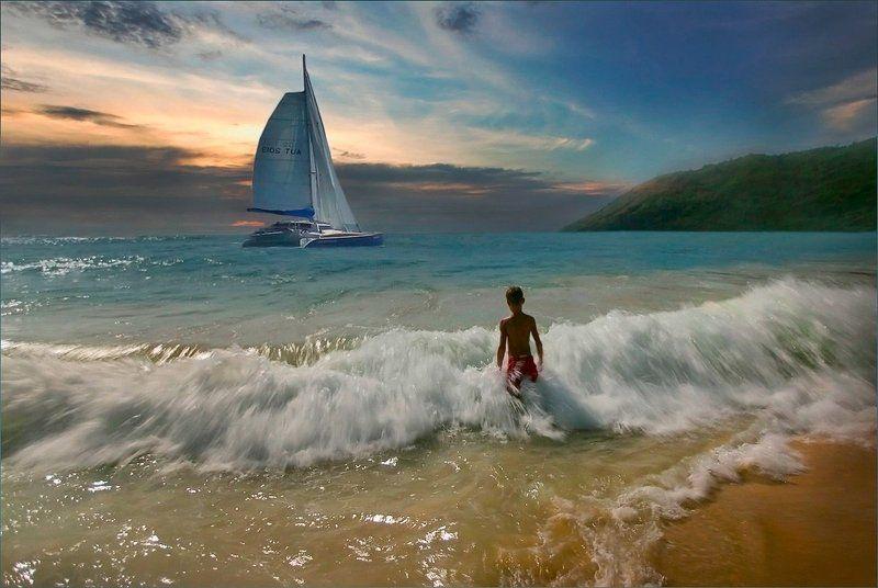 море парус мальчик на море Белеет парус одинокий...photo preview